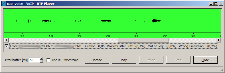 Recovering voice from captured RTP-streams