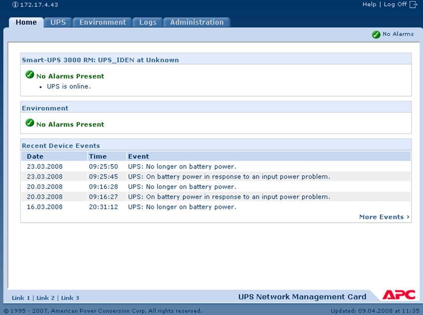 UPS APC AP9617/9619 management